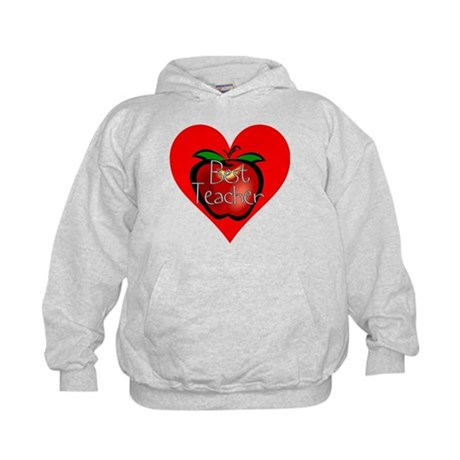 Best Teacher Apple Heart Kids Hoodie