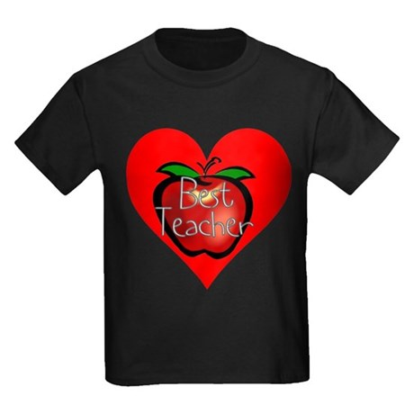 Best Teacher Apple Heart Kids Dark T-Shirt