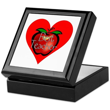 Best Teacher Apple Heart Keepsake Box