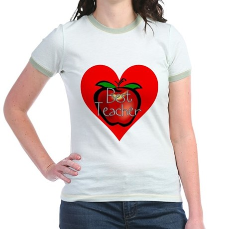 Best Teacher Apple Heart Jr. Ringer T-Shirt