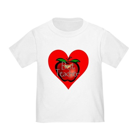 Best Teacher Apple Heart Toddler T-Shirt