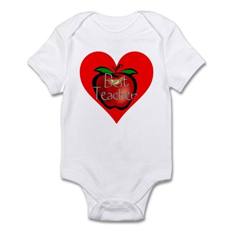 Best Teacher Apple Heart Infant Bodysuit