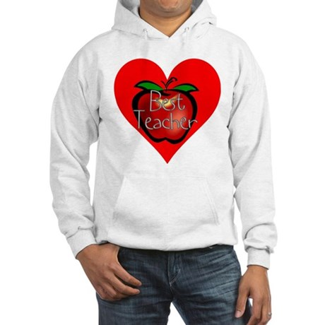 Best Teacher Apple Heart Hooded Sweatshirt