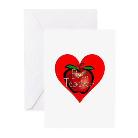 Best Teacher Apple Heart Greeting Cards (Pk of 10)