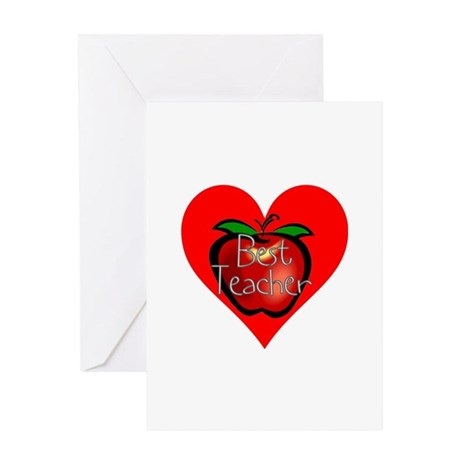 Best Teacher Apple Heart Greeting Card