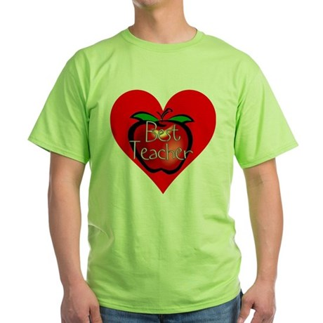 Best Teacher Apple Heart Green T-Shirt