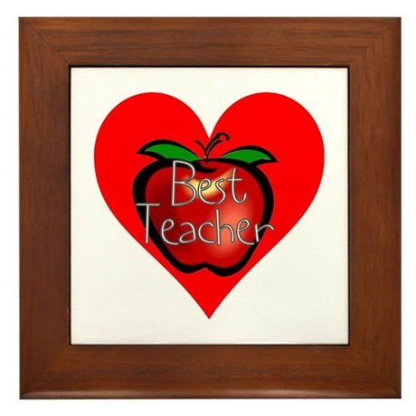 Best Teacher Apple Heart Framed Tile