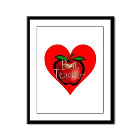 Best Teacher Apple Heart Framed Panel Print