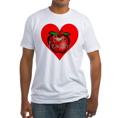 Best Teacher Apple Heart Fitted T-Shirt