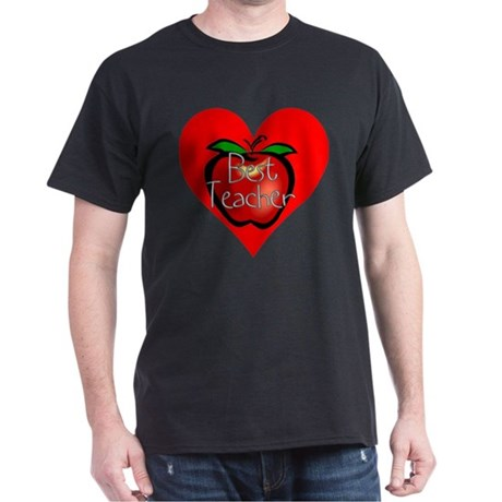 Best Teacher Apple Heart Dark T-Shirt