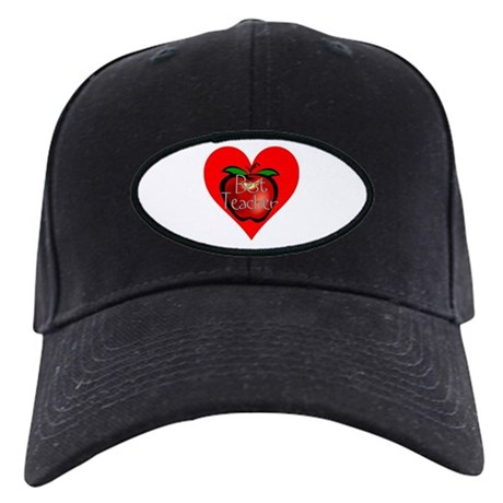 Best Teacher Apple Heart Black Cap