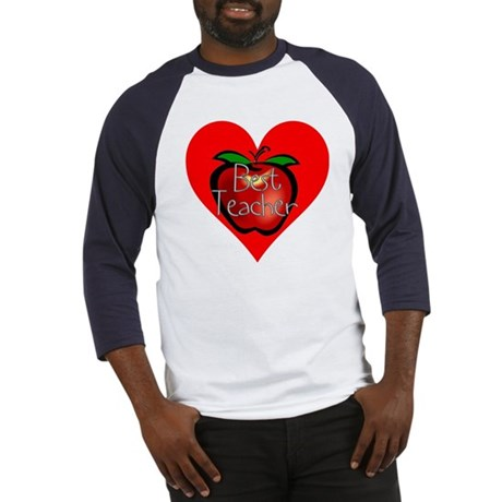 Best Teacher Apple Heart Baseball Jersey