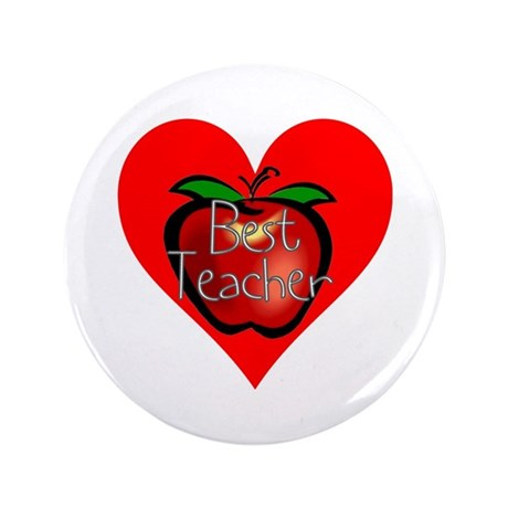 "Best Teacher Apple Heart 3.5"" Button (100 pack)"