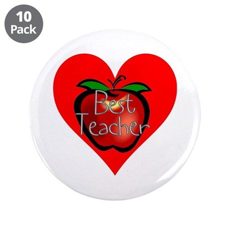 "Best Teacher Apple Heart 3.5"" Button (10 pack)"