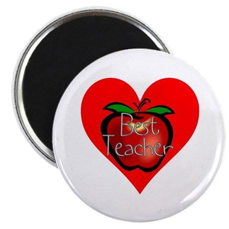 "Best Teacher Apple Heart 2.25"" Magnet (100 pack)"