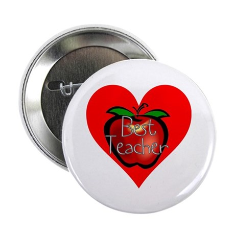 "Best Teacher Apple Heart 2.25"" Button (100 pack)"
