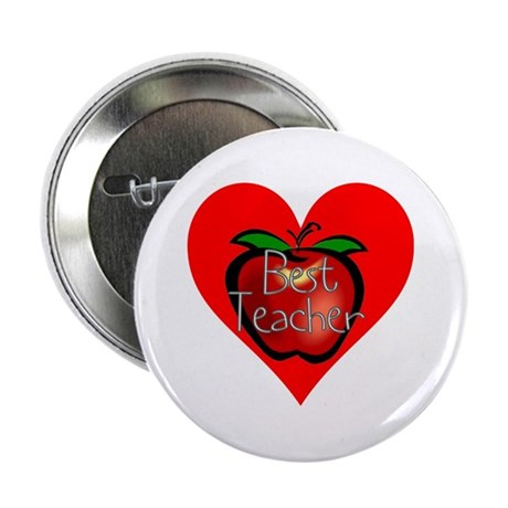 "Best Teacher Apple Heart 2.25"" Button"