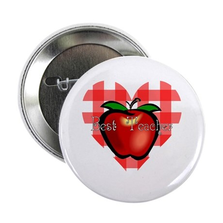 Best Teacher Checkered Heart Apple 2.25&quot; Button (1