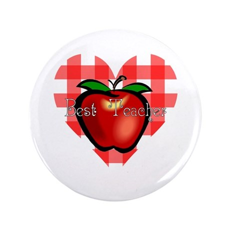 Best Teacher Checkered Heart Apple 3.5&quot; Button (10