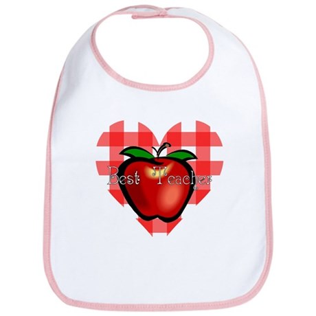 Best Teacher Checkered Heart Apple Bib