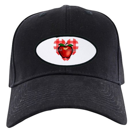 Best Teacher Checkered Heart Apple Black Cap