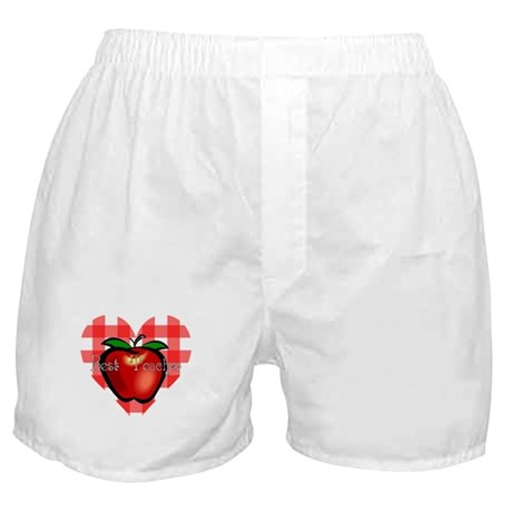 Best Teacher Checkered Heart Apple Boxer Shorts