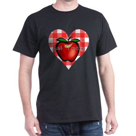 Best Teacher Checkered Heart Apple Dark T-Shirt
