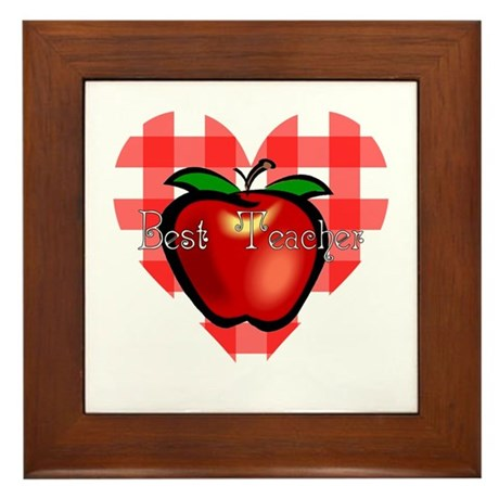 Best Teacher Checkered Heart Apple Framed Tile