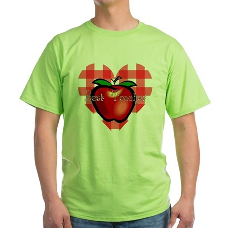 Best Teacher Checkered Heart Apple Green T-Shirt