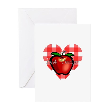 Best Teacher Checkered Heart Apple Greeting Card