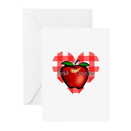 Best Teacher Checkered Heart Apple Greeting Cards
