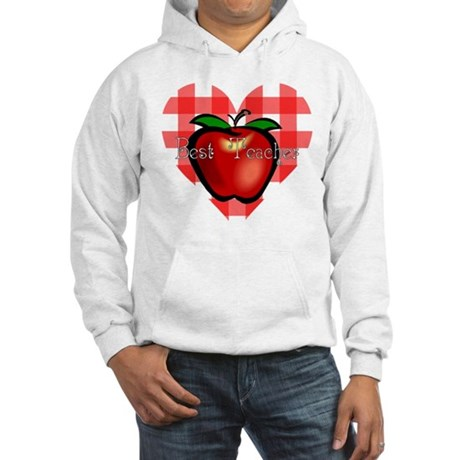 Best Teacher Checkered Heart Apple Hooded Sweatshi