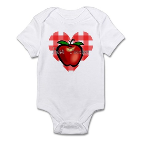 Best Teacher Checkered Heart Apple Infant Bodysuit