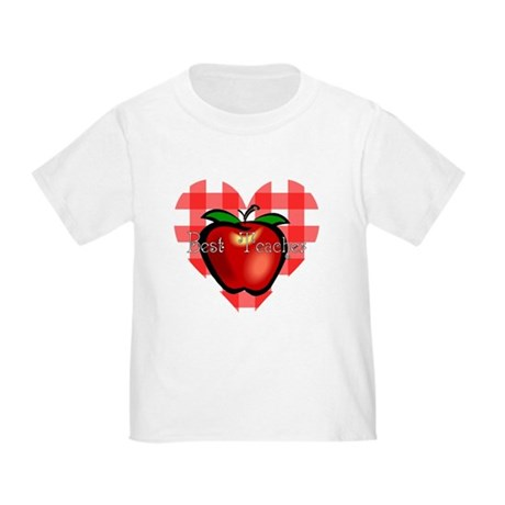 Best Teacher Checkered Heart Apple Toddler