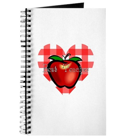 Best Teacher Checkered Heart Apple Journal