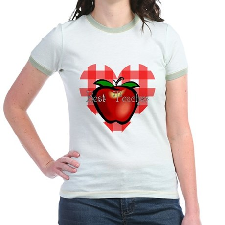 Best Teacher Checkered Heart Apple Jr. Ringer T-Sh
