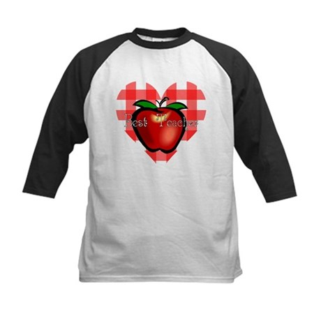 Best Teacher Checkered Heart Apple Kids Baseball J