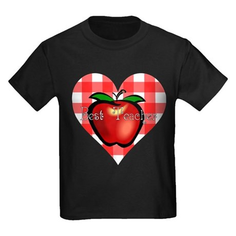 Best Teacher Checkered Heart Apple Kids Dark T-Shi