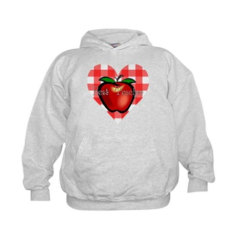 Best Teacher Checkered Heart Apple Kids Hoodie