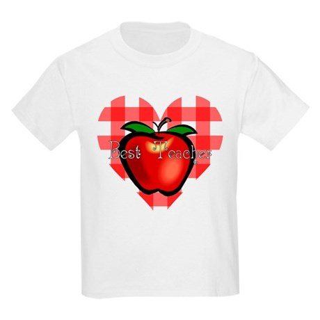 Best Teacher Checkered Heart Apple Kids Light T-Sh