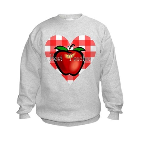 Best Teacher Checkered Heart Apple Kids Sweatshirt