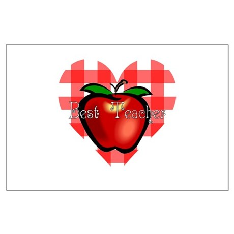 Best Teacher Checkered Heart Apple Large Poster