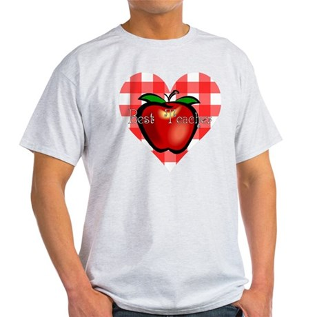 Best Teacher Checkered Heart Apple Light T-Shirt