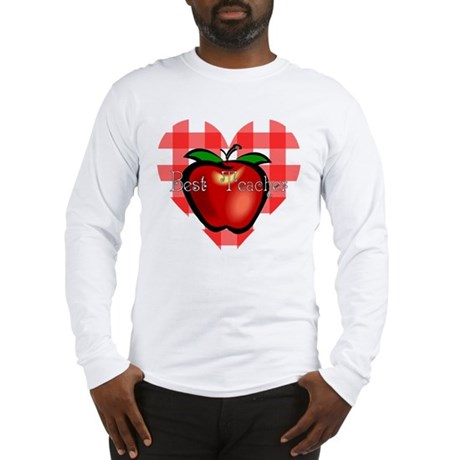 Best Teacher Checkered Heart Apple Long Sleeve T-S