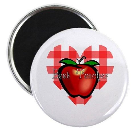 Best Teacher Checkered Heart Apple Magnet