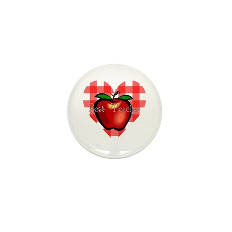 Best Teacher Checkered Heart Apple Mini Button