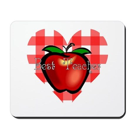 Best Teacher Checkered Heart Apple Mousepad