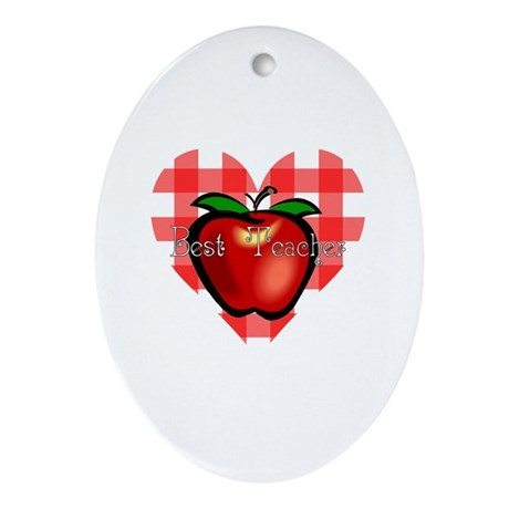 Best Teacher Checkered Heart Apple Oval Ornament