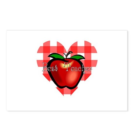 Best Teacher Checkered Heart Apple Postcards (Pack