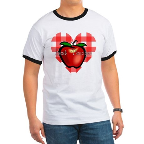 Best Teacher Checkered Heart Apple Ringer T